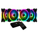 Kit com 4 Cooler Fan Gamdias AEOLUS M2-1204R RGB 120mm